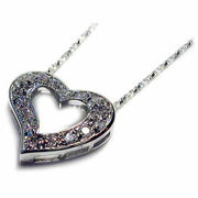 Sterling Silver CZ Open Heart Slide Pendant