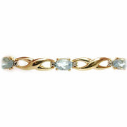 18K Gold over Sterling Silver 4.5ct Blue Topaz & Diamond Accent Infinity Bracelet