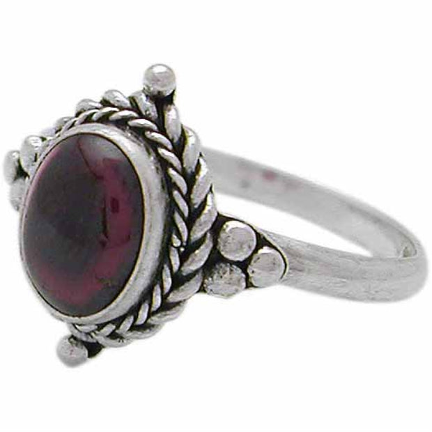 Sterling Silver Cabochon Garnet Oval Bali Twist Rope Ring,