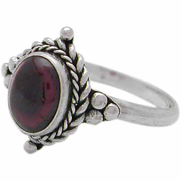 Sterling Silver Cabochon Garnet Oval Bali Twist Rope Ring