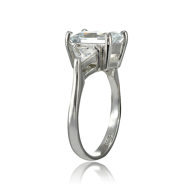 Sterling Silver Three Stone CZ Trillion Emerald-Cut Engagement Ring,