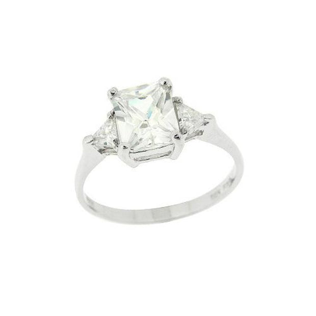 Sterling Silver Three Stone CZ Trillion Emerald-Cut Engagement Ring, Size 6