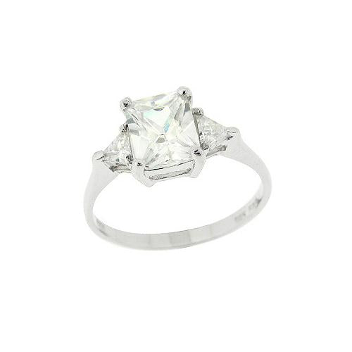 Sterling Silver Three Stone CZ Trillion Emerald-Cut Engagement Ring, Size 7