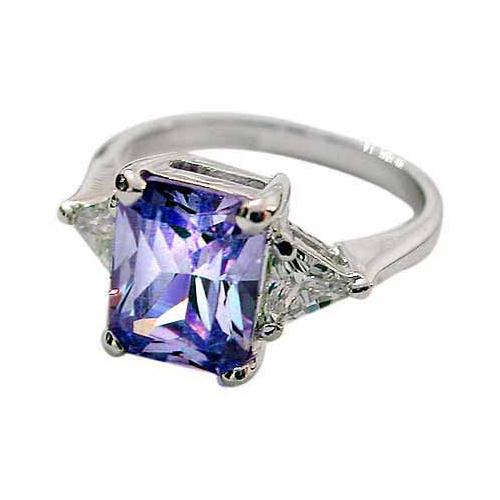 Sterling Silver Emerald-Cut Lavender CZ Ring,