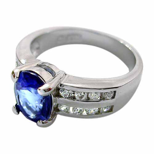 Sterling Silver Oval Tanzanite CZ & Double Row CZ Ring,
