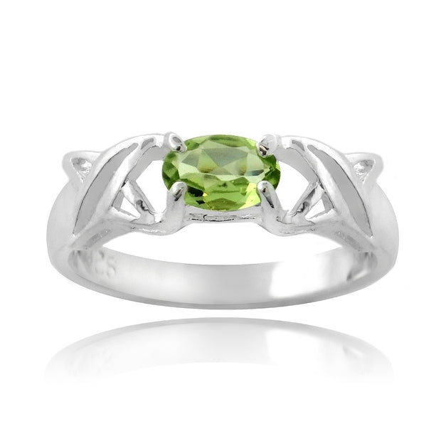 Sterling Silver Prong Set Genuine Peridot Ring