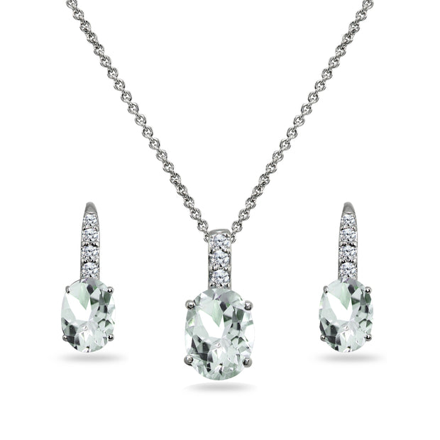 Sterling Silver Light Aquamarine Oval-Cut Pendant Necklace & Leverback Huggie Earrings Set with CZ Accents