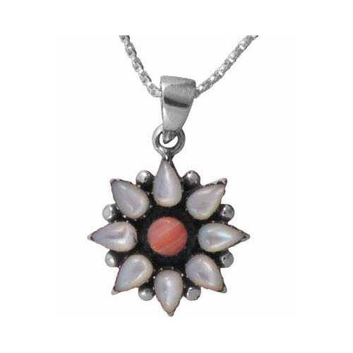 Sterling Silver Genuine Mother of Pearl and Pink Coral Flower Pendant