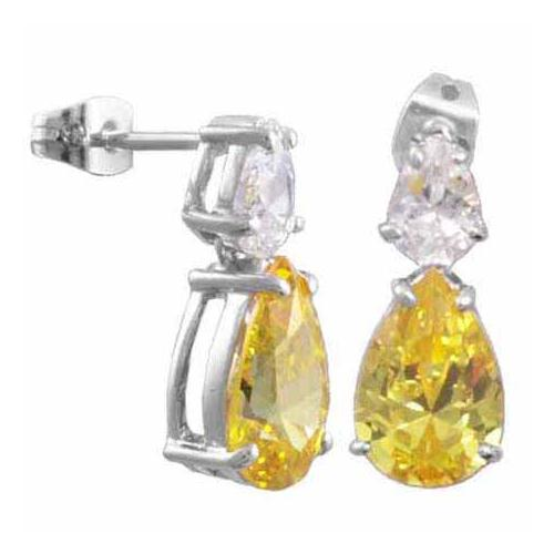 Sterling Silver Yellow and Created Diamond CZ earrings