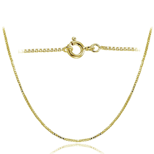 Gold Tone over Sterling Silver Italian 1mm Box Chain Necklace for Pendants 24 Inches