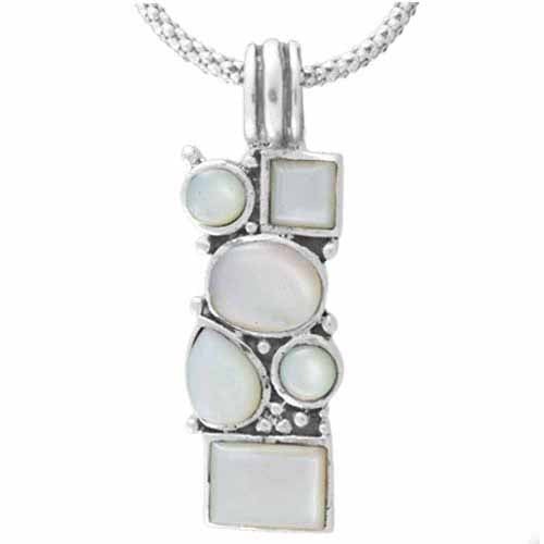 Sterling Silver Genuine Mother of Pearl Mosaic Pendant