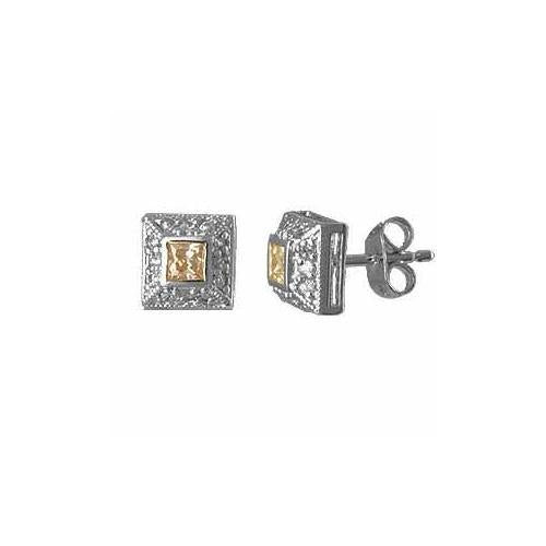 Sterling Silver Champagne with Simulated Diamond CZ border Square Post Earrings