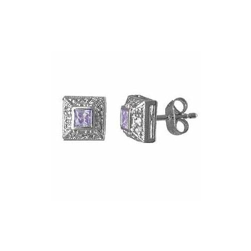 Sterling Silver Lavender Cubic Zirconia (CZ) and Created Diamond CZ border Square Post Earrings