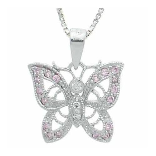 Sterling Silver Pink & Clear CZ Filigree Butterfly Pendant