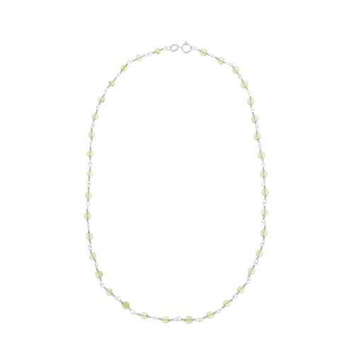 Sterling Silver Genuine Peridot Beaded Necklace
