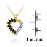 18K Gold over Sterling Silver 1&1/10 ct Sapphire Diamond Accent Heart Necklace