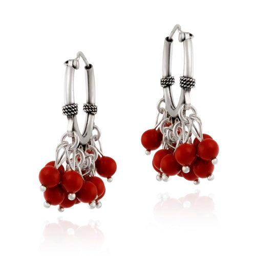 Sterling Silver Beaded Chandelier Red Coral Earrings