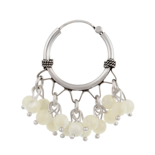 Sterling Silver Beaded Chandelier Genuine Mother of Pearl Earrings