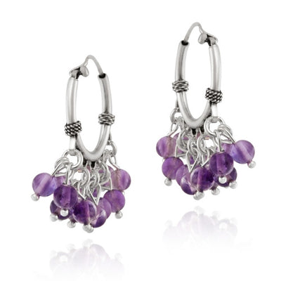 Sterling Silver Beaded Chandelier Genuine Amethyst Earrings