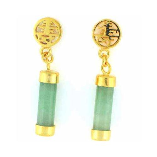 18K Gold over Sterling Silver and Chinese Green Jade 'Blessing' Dangle Earrings