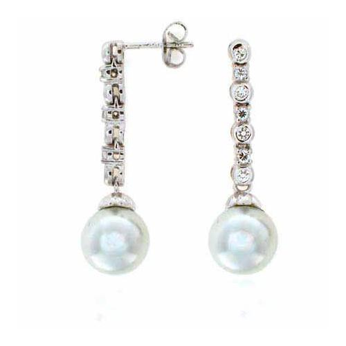 Sterling Silver Created Diamond CZ Glass Created Pearl Drop Earrings