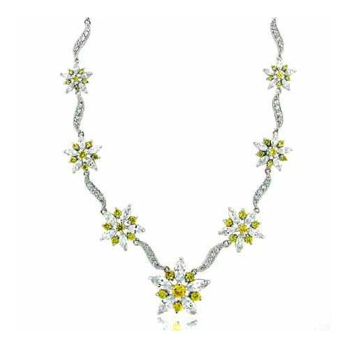 Sterling Silver Yellow cz Flower and Created Diamond CZ Necklace