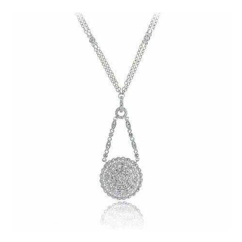Sterling Silver Created Diamond CZ Circle Necklace