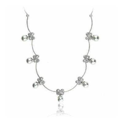 Celebrity Sterling Silver Simulated Diamond CZ  simulated Pearl Bow Necklace