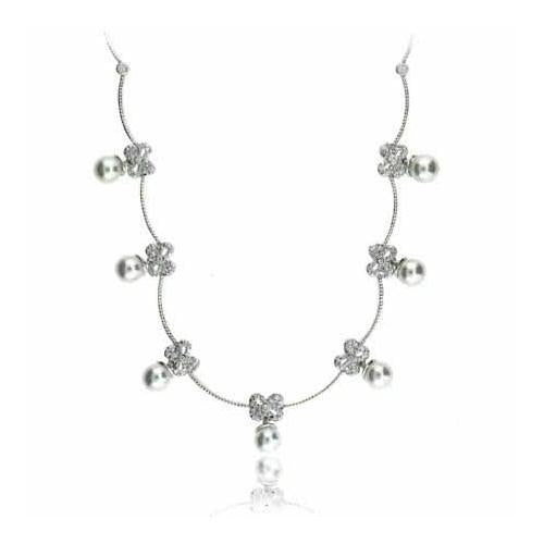 Celebrity Sterling Silver Created Diamond CZ  Created Pearl Bow Necklace