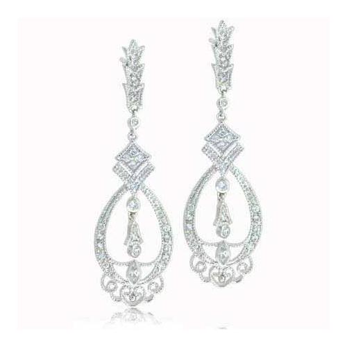 Sterling Silver Celebrity CZ Chandelier Earrings