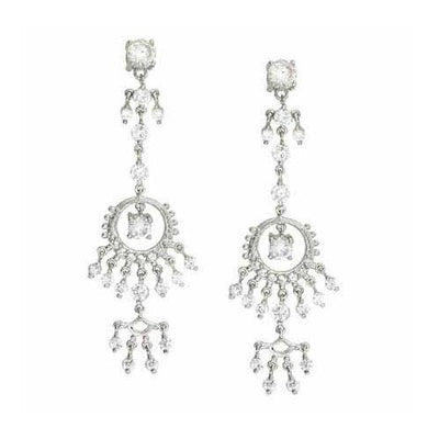 Sterling Silver Designer Simulated Diamond CZ  Celebrity Chandelier Earrings