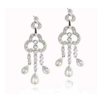 Sterling Silver Designer Simulated Diamond CZ Designer Chandelier Earrings