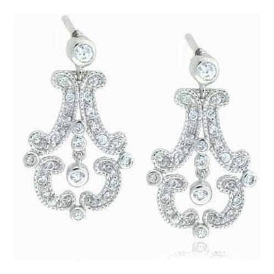 Sterling Silver Simulated Diamond CZ  Antique Chandelier Earrings