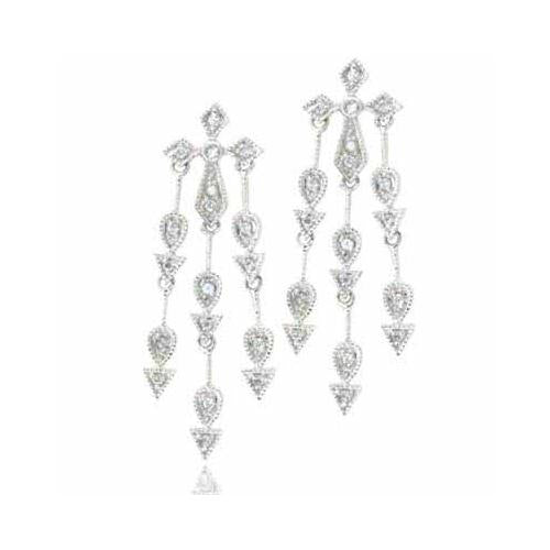Sterling Silver Simulated Diamond CZ Three strand Cross Chandelier Earrings