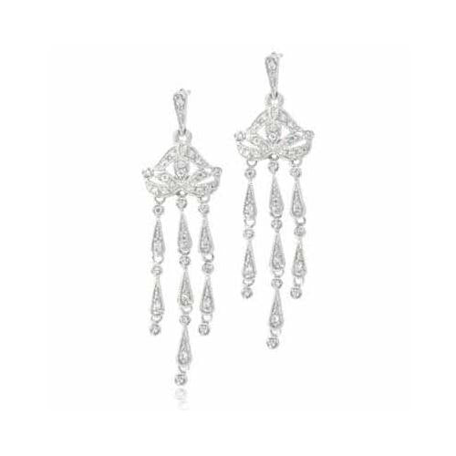 Sterling Silver CZ Vintage Chandelier Earrings