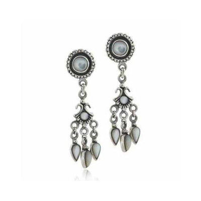 Sterling Silver Genuine Mother of Pearl Chandelier Earrings