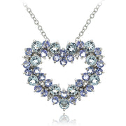 Sterling Silver 1.8ct TGW Aquamarine & Tanzanite & 1/10 ct tdw Diamond Cluster Heart Necklace