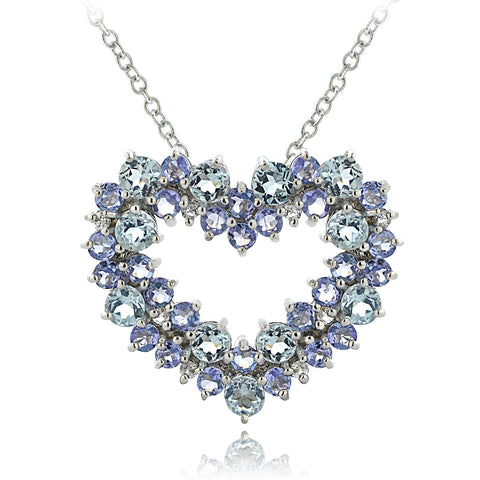 Sterling Silver 1.8ct TGW Aquamarine & Tanzanite & 1/10ct TDW Diamond Cluster Heart Necklace