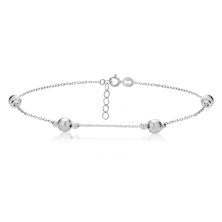 Sterling Silver Textured and Polished Round Beads Chain Anklet
