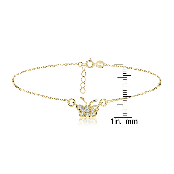 Gold Tone over Sterling Silver Cubic Zirconia Butterfly Chain Anklet