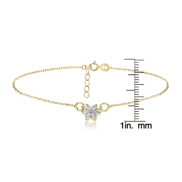 Gold Tone over Sterling Silver Cubic Zirconia Flower Chain Anklet