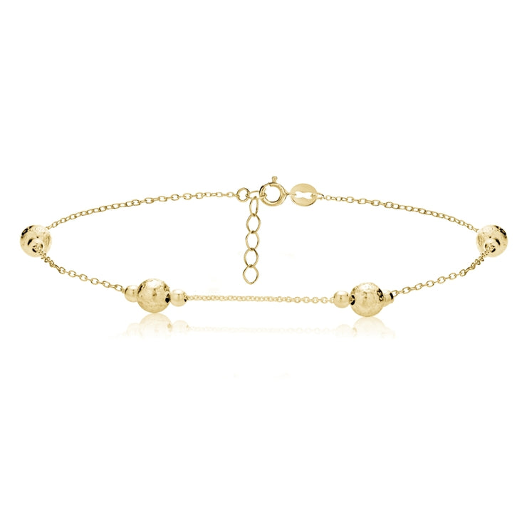 Gold Tone over Sterling Silver Textured and Polished Round Beads Chain Anklet