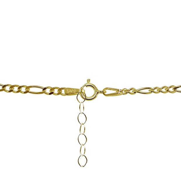Yellow Gold Flashed Sterling Silver Figaro Chain Anklet