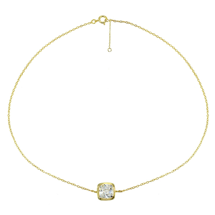 Yellow Gold Flashed Sterling Silver Cubic Zirconia Cushion-cut Bezel-Set Anklet