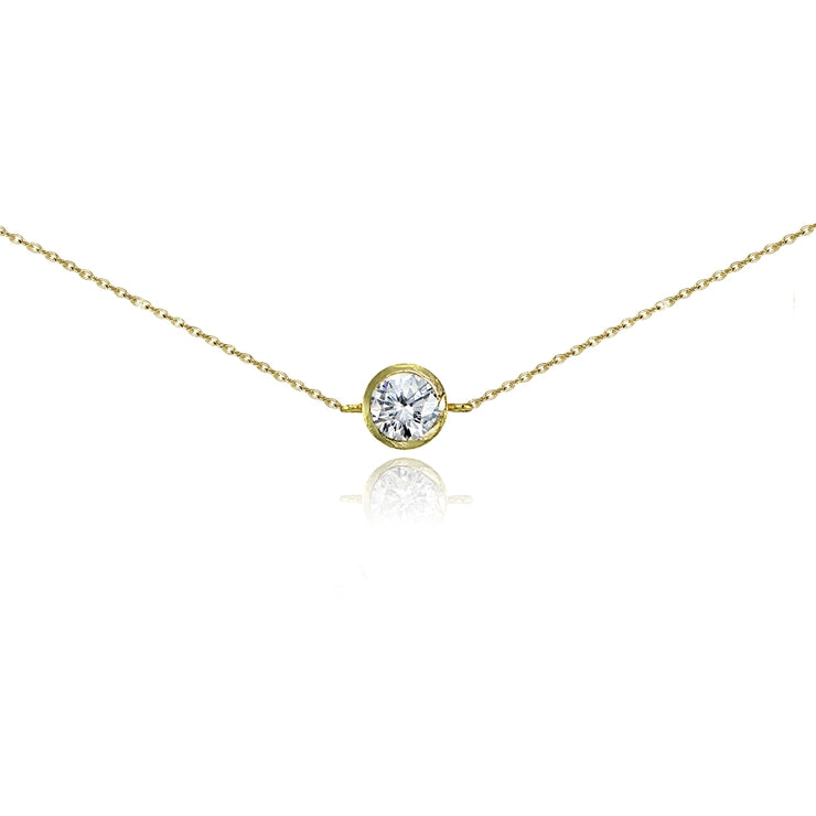 Yellow Gold Flashed Sterling Silver Cubic Zirconia Round Bezel-Set Chain Anklet