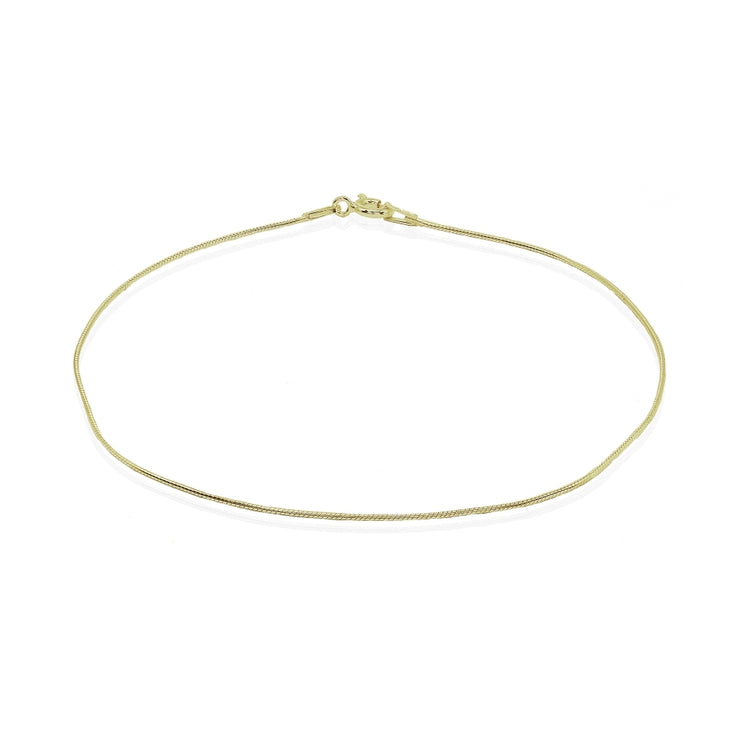 Yellow Gold Flashed Sterling Silver Italian .75mm Snake Chain Anklet, 9mm