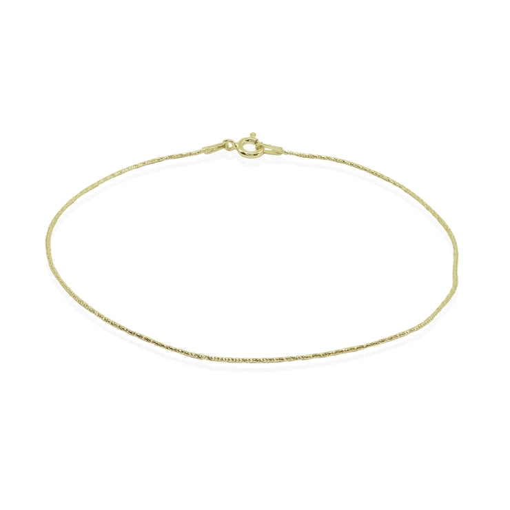 Yellow Gold Flashed Sterling Silver Italian .75mm Diamond-Cut Snake Chain Anklet, 9mm