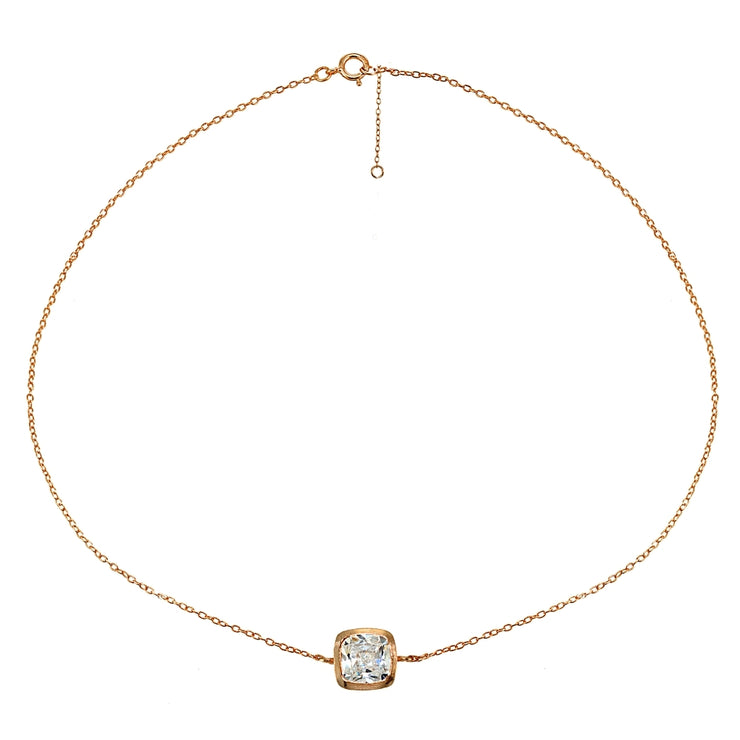 Rose Gold Flashed Sterling Silver Cubic Zirconia Cushion-cut Bezel-Set Anklet