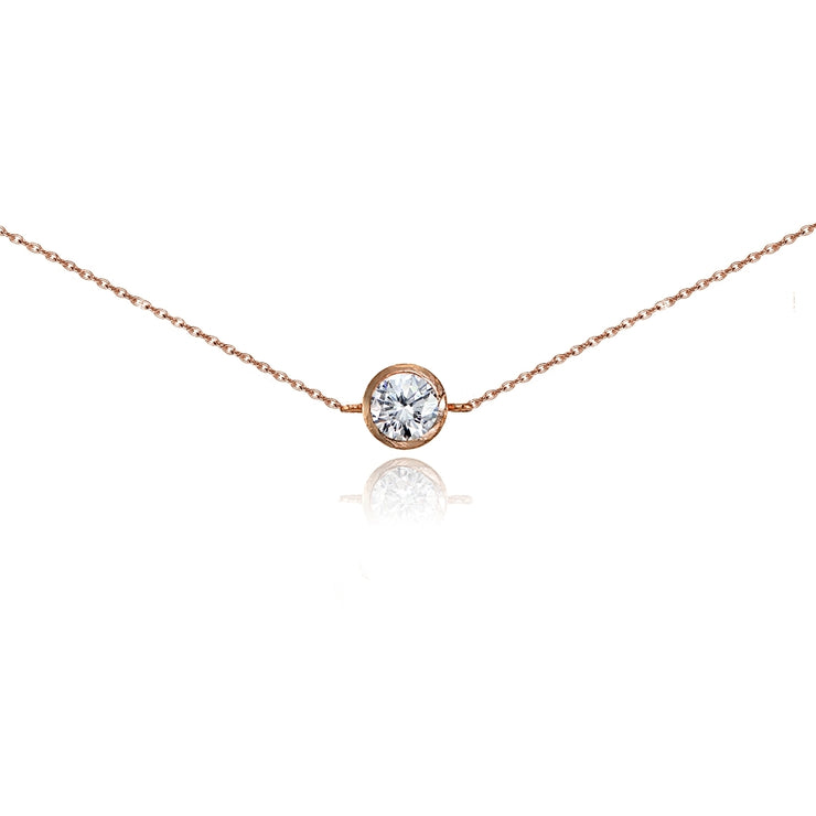 Rose Gold Flashed Sterling Silver Cubic Zirconia Round Bezel-Set Chain Anklet