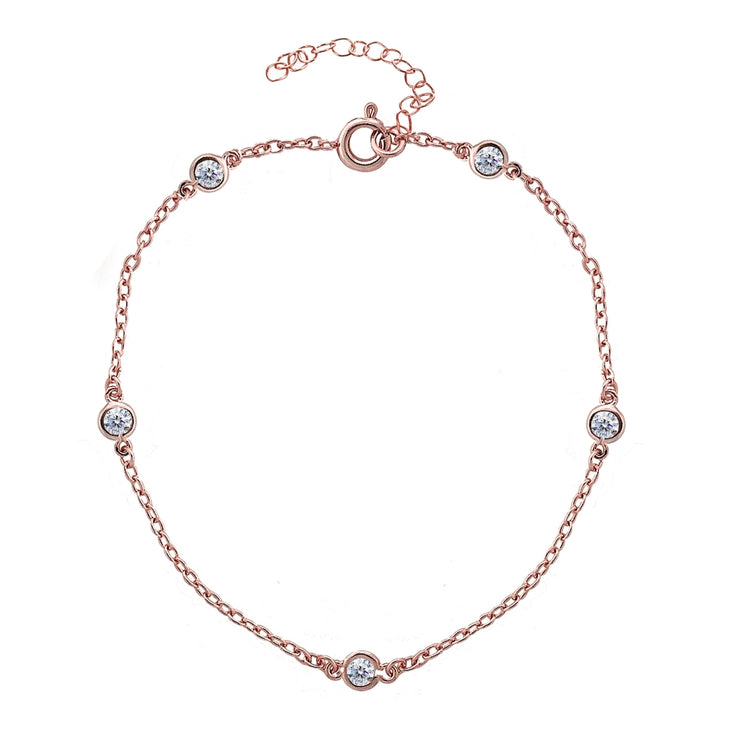 Rose Gold Flashed Sterling Silver CZ Station Dainty Chain Anklet